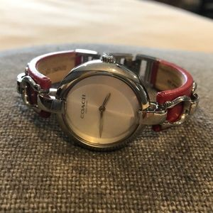 🐝Coach ladies red leather watch with horse bit